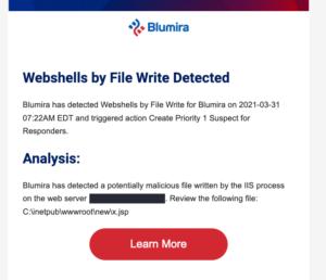 Web shell detection in Blumira